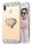 Eiroo Bling Mirror Samsung Galaxy A20S Silikon Kenarlı Aynalı Gold Rubber Kılıf
