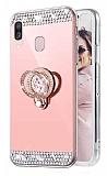 Eiroo Bling Mirror Samsung Galaxy A20S Silikon Kenarlı Aynalı Rose Gold Rubber Kılıf