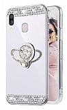 Eiroo Bling Mirror Samsung Galaxy A20S Silikon Kenarlı Aynalı Silver Rubber Kılıf