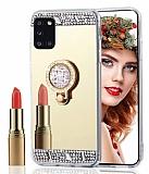 Eiroo Bling Mirror Samsung Galaxy A31 Silikon Kenarlı Aynalı Gold Rubber Kılıf