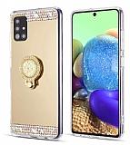 Eiroo Bling Mirror Samsung Galaxy A51 Silikon Kenarlı Aynalı Gold Rubber Kılıf