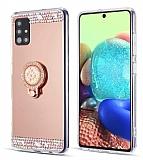 Eiroo Bling Mirror Samsung Galaxy A51 Silikon Kenarlı Aynalı Rose Gold Rubber Kılıf