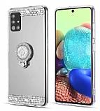 Eiroo Bling Mirror Samsung Galaxy A51 Silikon Kenarlı Aynalı Silver Rubber Kılıf