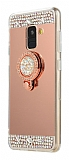 Eiroo Bling Mirror Samsung Galaxy A6 Plus Silikon Kenarlı Aynalı Rose Gold Rubber Kılıf
