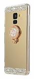 Eiroo Bling Mirror Samsung Galaxy A6 Plus Silikon Kenarlı Aynalı Gold Rubber Kılıf