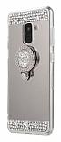 Eiroo Bling Mirror Samsung Galaxy A6 Plus Silikon Kenarlı Aynalı Silver Rubber Kılıf