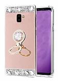 Eiroo Bling Mirror Samsung Galaxy A6 Silikon Kenarlı Aynalı Rose Gold Rubber Kılıf