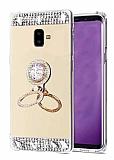 Eiroo Bling Mirror Samsung Galaxy A6 Silikon Kenarlı Aynalı Gold Rubber Kılıf