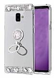 Eiroo Bling Mirror Samsung Galaxy A6 Silikon Kenarlı Aynalı Silver Rubber Kılıf