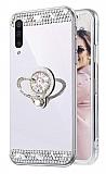 Eiroo Bling Mirror Samsung Galaxy A70 Silikon Kenarlı Aynalı Silver Rubber Kılıf