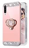 Eiroo Bling Mirror Samsung Galaxy A70 Silikon Kenarlı Aynalı Rose Gold Rubber Kılıf