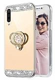 Eiroo Bling Mirror Samsung Galaxy A70 Silikon Kenarlı Aynalı Gold Rubber Kılıf