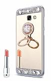 Eiroo Bling Mirror Samsung Galaxy J4 Plus Silikon Kenarlı Aynalı Gold Rubber Kılıf