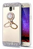 Eiroo Bling Mirror Samsung Galaxy J4 Silikon Kenarlı Aynalı Gold Rubber Kılıf