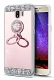 Eiroo Bling Mirror Samsung Galaxy J4 Silikon Kenarlı Aynalı Rose Gold Rubber Kılıf