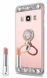Eiroo Bling Mirror Samsung Galaxy J7 2016 Silikon Kenarlı Aynalı Rose Gold Rubber Kılıf