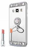 Eiroo Bling Mirror Samsung Galaxy J7 2016 Silikon Kenarlı Aynalı Silver Rubber Kılıf