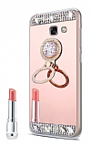Eiroo Bling Mirror Samsung Galaxy J7 Prime / Prime 2 Silikon Kenarlı Aynalı Rose Gold Rubber Kılıf