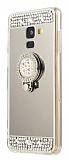 Eiroo Bling Mirror Samsung Galaxy J8 Silikon Kenarlı Aynalı Silver Rubber Kılıf