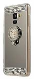 Eiroo Bling Mirror Samsung Galaxy J8 Silikon Kenarlı Aynalı Siyah Rubber Kılıf