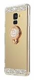 Eiroo Bling Mirror Samsung Galaxy J8 Silikon Kenarlı Aynalı Gold Rubber Kılıf