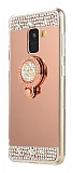 Eiroo Bling Mirror Samsung Galaxy J8 Silikon Kenarlı Aynalı Rose Gold Rubber Kılıf