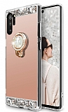 Eiroo Bling Mirror Samsung Galaxy Note 10 Plus Silikon Kenarlı Aynalı Rose Gold Rubber Kılıf