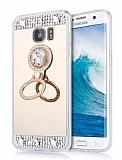 Eiroo Bling Mirror Samsung Galaxy Note 5 Silikon Kenarlı Aynalı Gold Rubber Kılıf