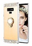 Eiroo Bling Mirror Samsung Galaxy Note 9 Silikon Kenarlı Aynalı Gold Rubber Kılıf