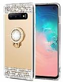 Eiroo Bling Mirror Samsung Galaxy S10 Plus Silikon Kenarlı Aynalı Gold Rubber Kılıf