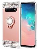 Eiroo Bling Mirror Samsung Galaxy S10 Plus Silikon Kenarlı Aynalı Rose Gold Rubber Kılıf