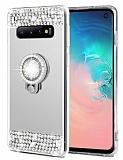 Eiroo Bling Mirror Samsung Galaxy S10 Plus Silikon Kenarlı Aynalı Silver Rubber Kılıf