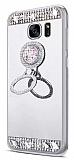 Eiroo Bling Mirror Samsung Galaxy S7 Edge Silikon Kenarlı Aynalı Silver Rubber Kılıf