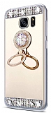 Eiroo Bling Mirror Samsung Galaxy S7 Edge Silikon Kenarlı Aynalı Gold Rubber Kılıf
