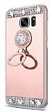 Eiroo Bling Mirror Samsung Galaxy S7 Edge Silikon Kenarlı Aynalı Rose Gold Rubber Kılıf