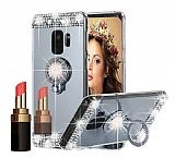 Eiroo Bling Mirror Samsung Galaxy S9 Silikon Kenarlı Aynalı Silver Rubber Kılıf