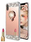 Eiroo Bling Mirror Xiaomi Mi 8 Silikon Kenarlı Aynalı Rose Gold Rubber Kılıf