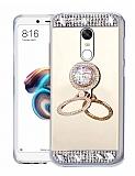 Eiroo Bling Mirror Xiaomi Redmi 5 Plus Silikon Kenarlı Aynalı Gold Rubber Kılıf