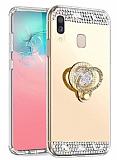 Eiroo Bling Mirror Xiaomi Redmi Note 7 Pro Silikon Kenarlı Aynalı Gold Rubber Kılıf