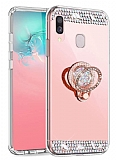 Eiroo Bling Mirror Xiaomi Redmi Note 7 Pro Silikon Kenarlı Aynalı Rose Gold Rubber Kılıf