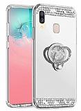 Eiroo Bling Mirror Xiaomi Redmi Note 7 Pro Silikon Kenarlı Aynalı Silver Rubber Kılıf