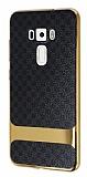 Eiroo Boss Fit Asus ZenFone 3 ZE552KL Deri Görünümlü Siyah Silikon Kılıf