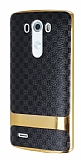 Eiroo Boss Fit LG G3 Deri Görünümlü Siyah Silikon Kılıf
