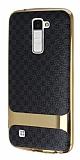 Eiroo Boss Fit LG K10 Deri Görünümlü Siyah Silikon Kılıf