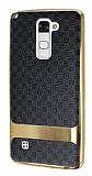 Eiroo Boss Fit LG Stylus 2 / Stylus 2 Plus Deri Görünümlü Siyah Silikon Kılıf