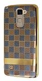 Eiroo Boss Fit LG Stylus 2 / Stylus 2 Plus Deri Görünümlü Gold-Gri Silikon Kılıf