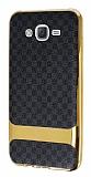 Eiroo Boss Fit Samsung Galaxy J7 Deri Görünümlü Siyah Silikon Kılıf