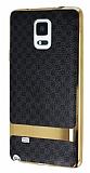 Eiroo Boss Fit Samsung Galaxy Note 4 Deri Görünümlü Siyah Silikon Kılıf