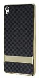 Eiroo Boss Fit Sony Xperia XA Ultra Deri Görünümlü Siyah Silikon Kılıf