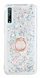 Eiroo Bright Huawei Y8P Sulu Simli Silver Silikon Kılıf
